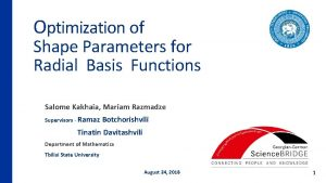 Optimization of Shape Parameters for Radial Basis Functions
