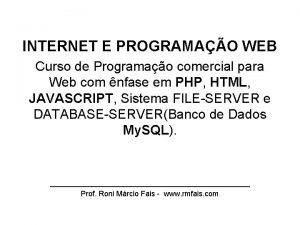 INTERNET E PROGRAMAO WEB Curso de Programao comercial