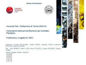 Bozza Conclusioni Accordo Fiat Politecnico di Torino 2010