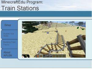 Minecraft Edu Program Train Stations Setup Explore Your