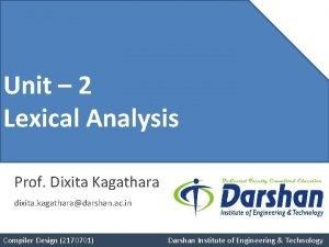 Unit 4 Unit 2 Pushdown Lexical Analysis Automata