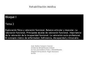 Rehabilitacin Mdica Bloque I Tema 2 Exploracin fsica