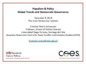 Populism Policy Global Trends and Democratic Governance December