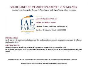 SOUTENANCE DE MEMOIRE DANALYSE le 22 Mai 2012