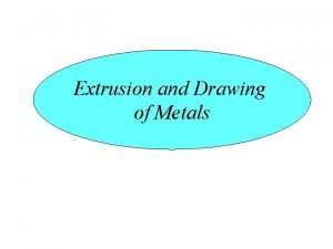 Extrusion and Drawing of Metals Introduction Extrusion It