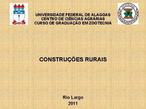 UNIVERSIDADE FEDERAL DE ALAGOAS CENTRO DE CINCIAS AGRRIAS
