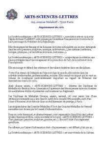 ARTSSCIENCESLETTRES 124 avenue Malakoff 75116 Paris Rayonnement des