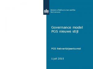 Governance model PGS nieuwe stijl PGS Netwerkbijeenkomst 1
