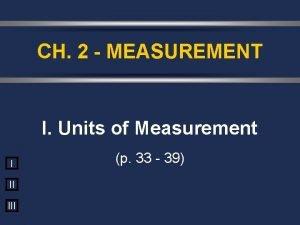 CH 2 MEASUREMENT I Units of Measurement I