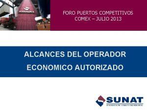FORO PUERTOS COMPETITIVOS COMEX JULIO 2013 ALCANCES DEL