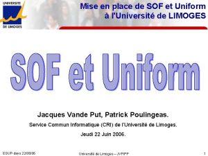 Mise en place de SOF et Uniform lUniversit