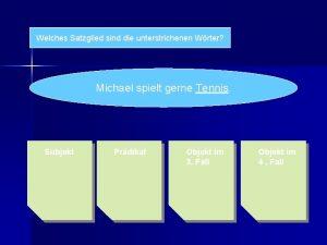 Welches Satzglied sind die unterstrichenen Wrter Michael spielt