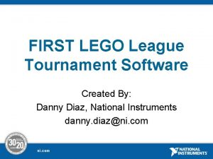 FIRST LEGO League Tournament Software Created By Danny