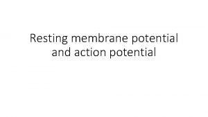Resting membrane potential and action potential OBJECTIVES At