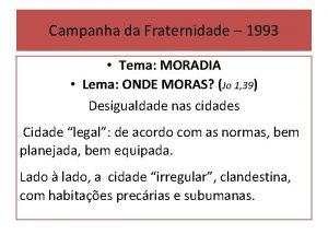 Campanha da Fraternidade 1993 Tema MORADIA Lema ONDE