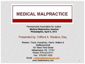MEDICAL MALPRACTICE Pennsylvania Association for Justice Medical Malpractice