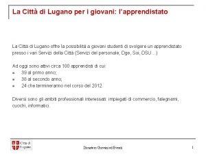 La Citt di Lugano per i giovani lapprendistato