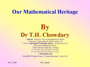 Our Mathematical Heritage By Dr T H Chowdary