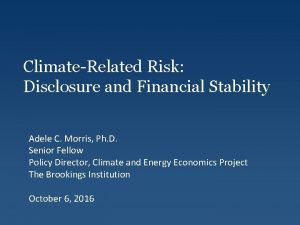 ClimateRelated Risk Disclosure and Financial Stability Adele C