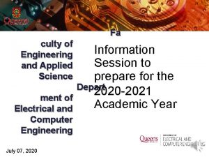 Fa culty of Engineering and Applied Science ment