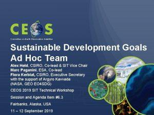 Committee on Earth Observation Satellites Sustainable Development Goals
