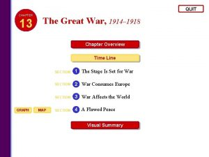 QUIT CHAPTER 13 The Great War 1914 1918