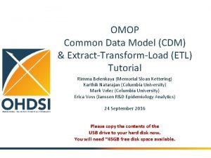 OMOP Common Data Model CDM ExtractTransformLoad ETL Tutorial