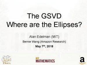 The GSVD Where are the Ellipses Alan Edelman
