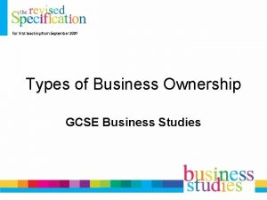 Types of Business Ownership GCSE Business Studies Mixed