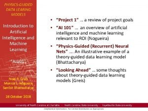 PHYSICSGUIDED DATA LEARING MODELS Introduction to Artificial Intelligence