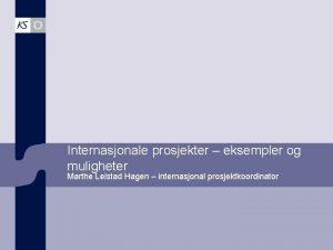 Internasjonale prosjekter eksempler og muligheter Marthe Leistad Hagen