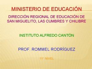 MINISTERIO DE EDUCACIN DIRECCIN REGIONAL DE EDUCACIN DE