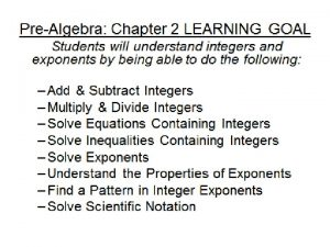 2 4 Solving Equations Containing Integers Todays Learning