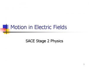 Motion in Electric Fields SACE Stage 2 Physics