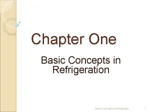 Chapter One Basic Concepts in Refrigeration Basic Concepts