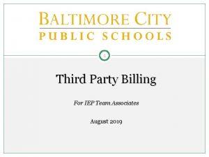 1 Third Party Billing For IEP Team Associates