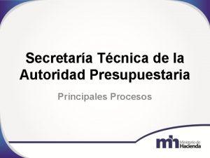 Secretara Tcnica de la Autoridad Presupuestaria Principales Procesos