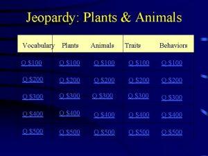 Jeopardy Plants Animals Vocabulary Plants Animals Traits Behaviors