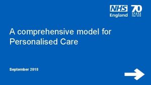 A comprehensive model for Personalised Care September 2018