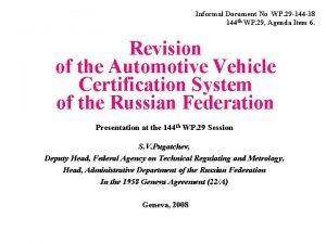 Informal Document No WP 29 144 18 144