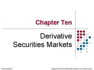 Chapter Ten Derivative Securities Markets Mc GrawHillIrwin Copyright