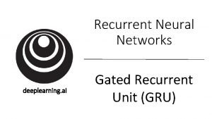 Recurrent Neural Networks deeplearning ai Gated Recurrent Unit