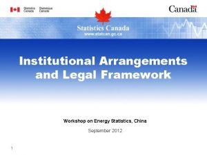Institutional Arrangements and Legal Framework Workshop on Energy