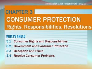 ECONOMIC EDUCATION FOR CONSUMERS Chapter 3 CHAPTER 3
