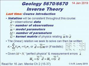 Geology 56706670 Inverse Theory 14 Jan 2019 Last