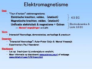 Elektromagnetisme Doel Tour dhorizon elektromagnetisme Elektrische krachten velden
