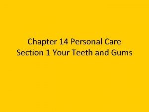 Chapter 14 Personal Care Section 1 Your Teeth