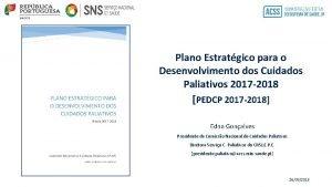 Plano Estratgico para o Desenvolvimento dos Cuidados Paliativos