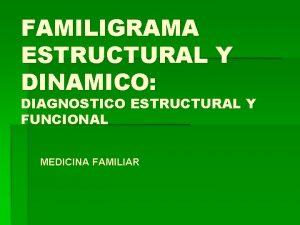 FAMILIGRAMA ESTRUCTURAL Y DINAMICO DIAGNOSTICO ESTRUCTURAL Y FUNCIONAL