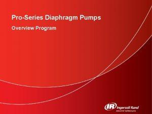 ProSeries Diaphragm Pumps Overview Program ProSeries Diaphragm Pumps